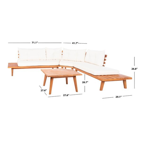 Coates Solid Wood 5 - Person Seating Group with Cushions