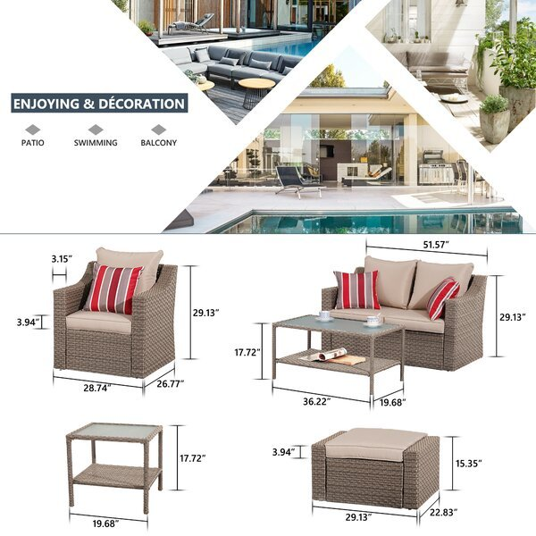 Hechavarria 6 - Person Seating Group with Cushions