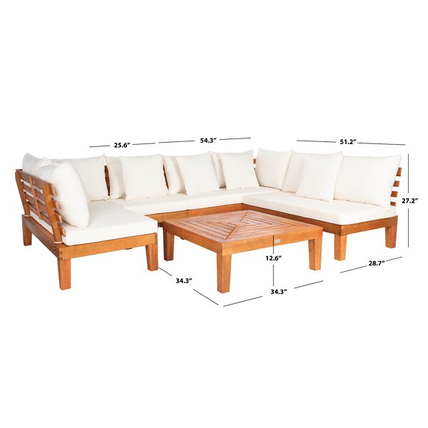 Greta Solid Wood 5 - Person Seating Group with Cushions