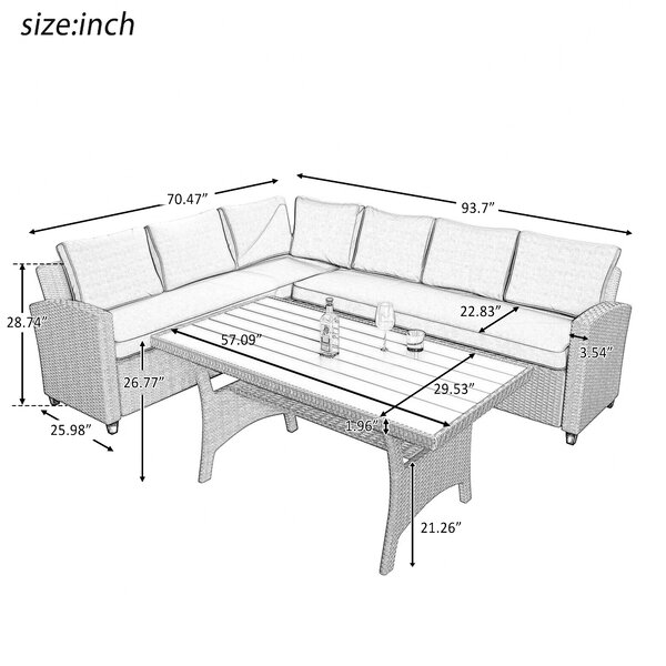 Bradyn Wicker/Rattan 7 - Person Seating Group with Cushions