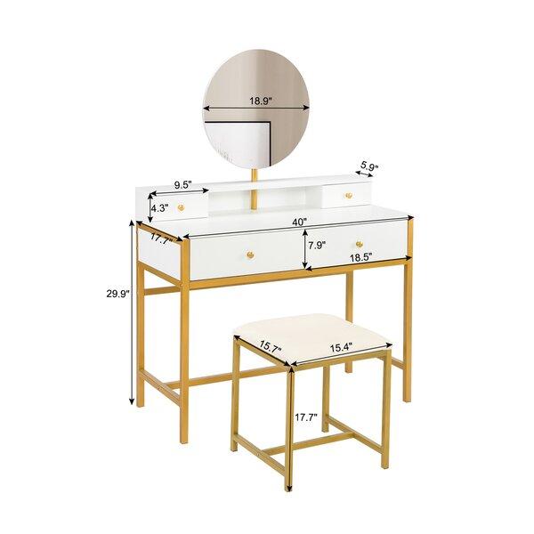 Mercer41 Large Vanity Set Vanity Table With 2 Large Table Drawers