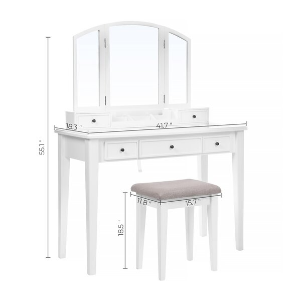 Vanity Set, Dressing Table Set With Tri-Fold Mirror, Large Table Top, 5 Drawers, Removable Organizer, Cushioned Stool, White
