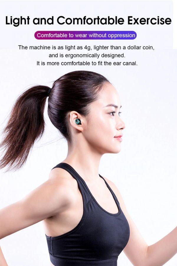women running wearing True Wireless Earbuds Bluetooth