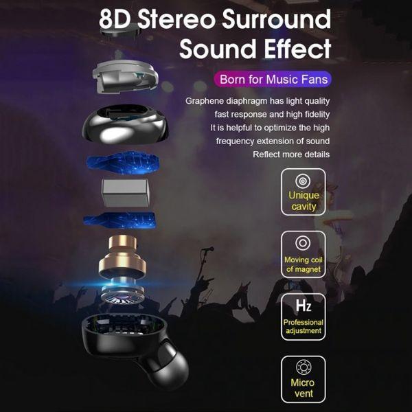 True Wireless Earbuds Bluetooth 8d surround