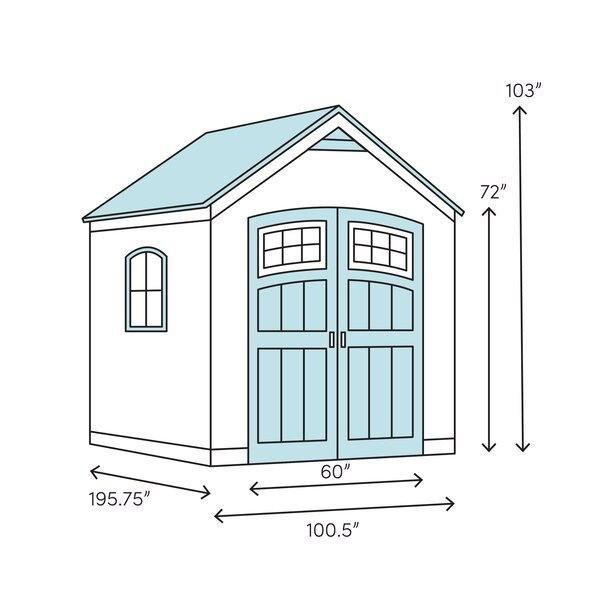 Tremont Outdoor 8 ft. W x 16 ft. D Plastic Storage Shed