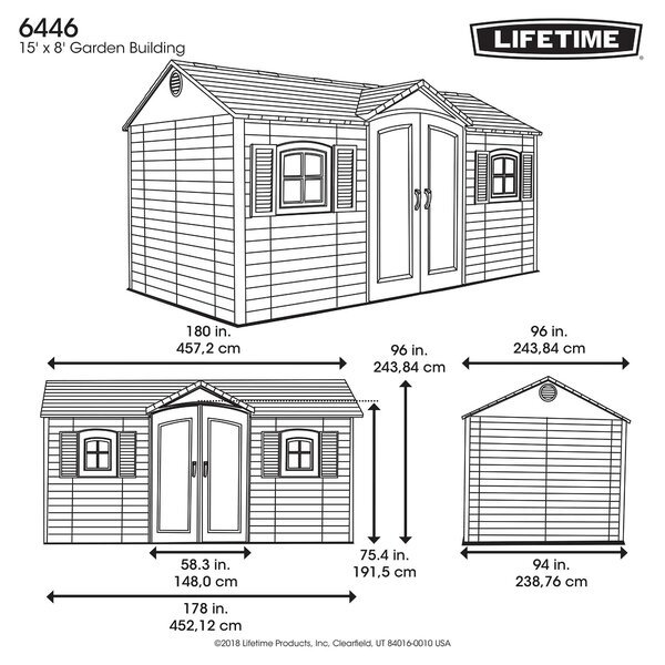 Side Entry 15 ft. W x 8 ft. D Plastic Storage Shed