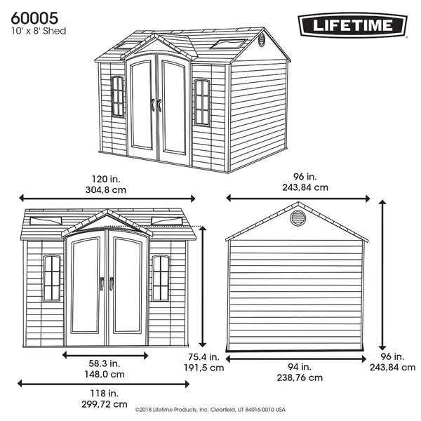 Side 10 ft. W x 8 ft. D Plastic Storage Shed