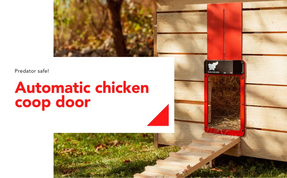 Automatic chicken coop door. Predator safe! Red open aluminium chicken door in nature.