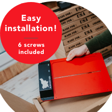 easy installation, the pacage includes 6 screws and 2 AA batteries