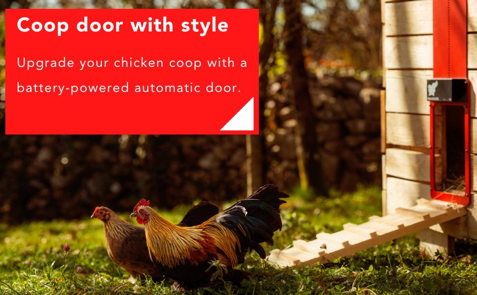 时髦的。 使用电池供电的自动红门升级您的鸡舍。防水,计时器。